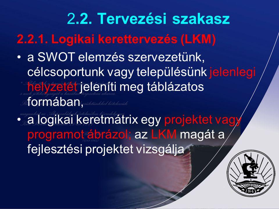 2.2. Tervezési szakasz 2.2.1. Logikai kerettervezés (LKM)