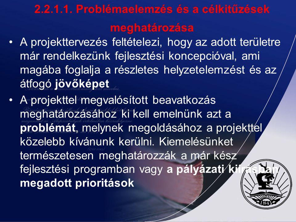 2.2.1.1. Problémaelemzés és a célkitűzések meghatározása