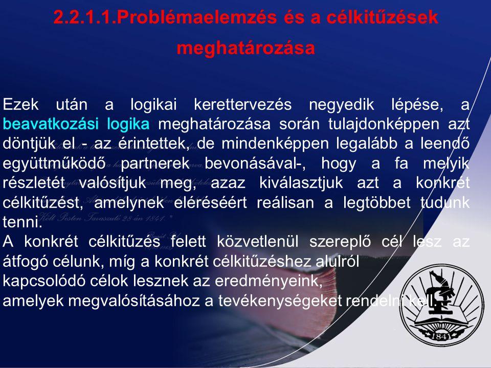 2.2.1.1.Problémaelemzés és a célkitűzések meghatározása