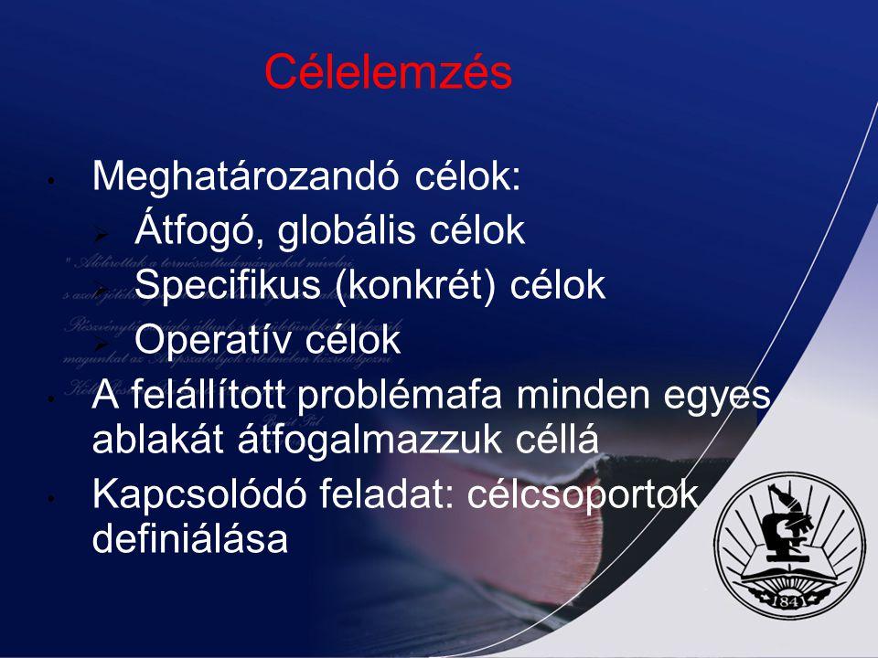Célelemzés Meghatározandó célok: Átfogó, globális célok