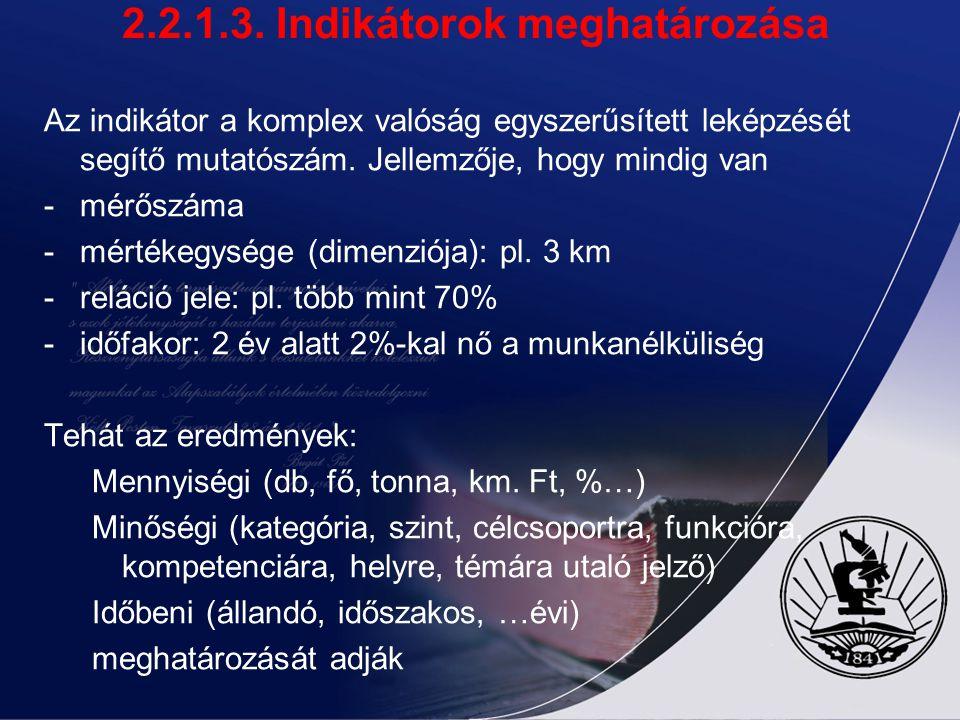 2.2.1.3. Indikátorok meghatározása