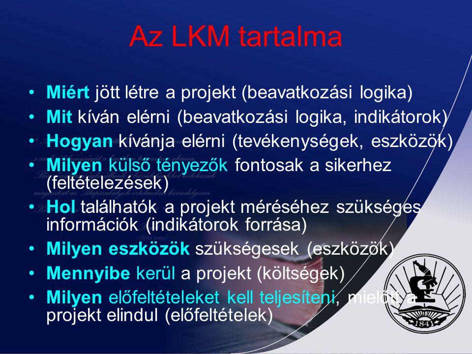 Az LKM tartalma Miért jött létre a projekt (beavatkozási logika)