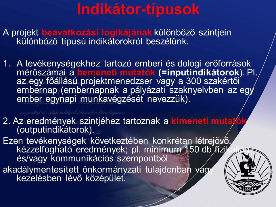 Indikátor-típusok A projekt beavatkozási logikájának különböző szintjein különböző típusú indikátorokról beszélünk.