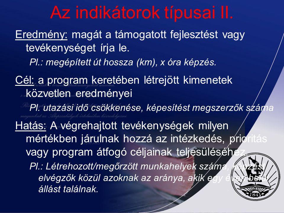 Az indikátorok típusai II.
