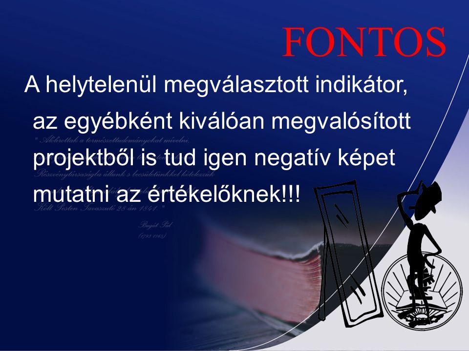 FONTOS A helytelenül megválasztott indikátor, az egyébként kiválóan megvalósított projektből is tud igen negatív képet mutatni az értékelőknek!!!