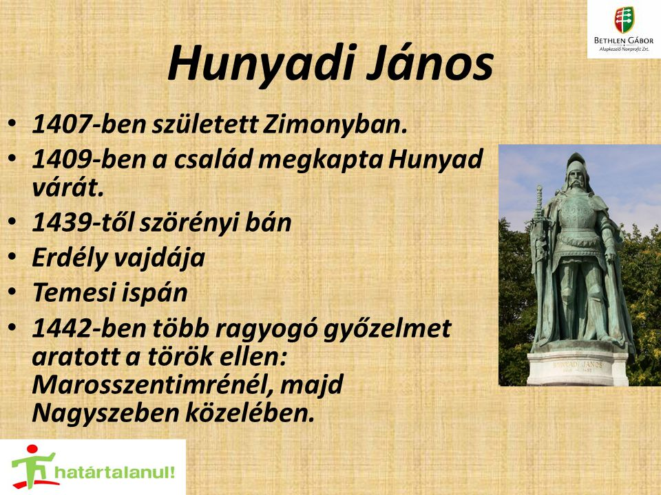 Hunyadi János 1407-ben született Zimonyban.