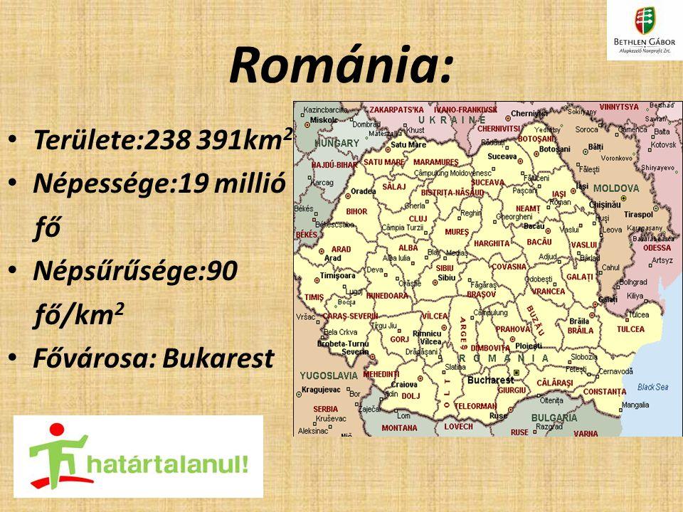 Románia: Területe:238 391km2 Népessége:19 millió fő Népsűrűsége:90