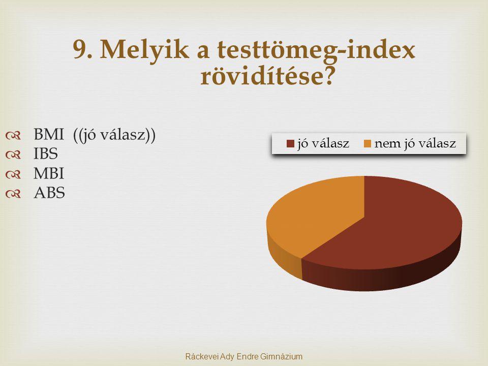 9. Melyik a testtömeg-index rövidítése