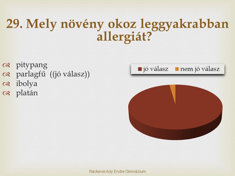 29. Mely növény okoz leggyakrabban allergiát