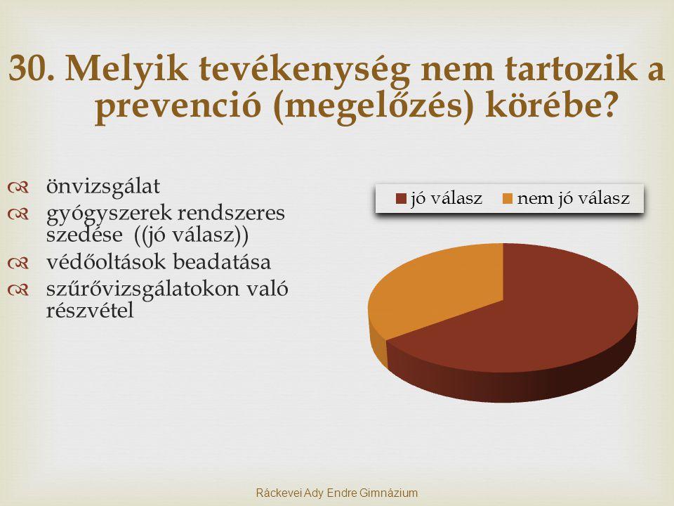 30. Melyik tevékenység nem tartozik a prevenció (megelőzés) körébe