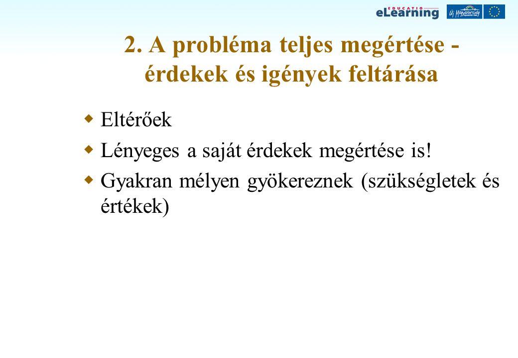 2. A probléma teljes megértése - érdekek és igények feltárása