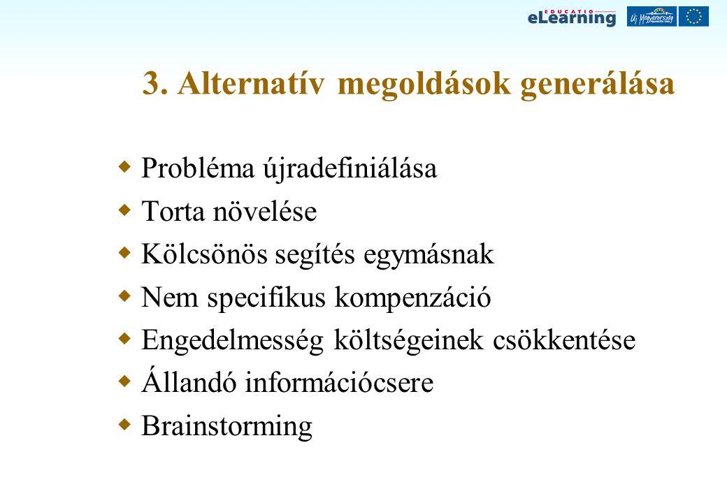 3. Alternatív megoldások generálása