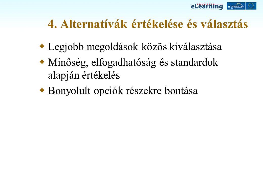4. Alternatívák értékelése és választás
