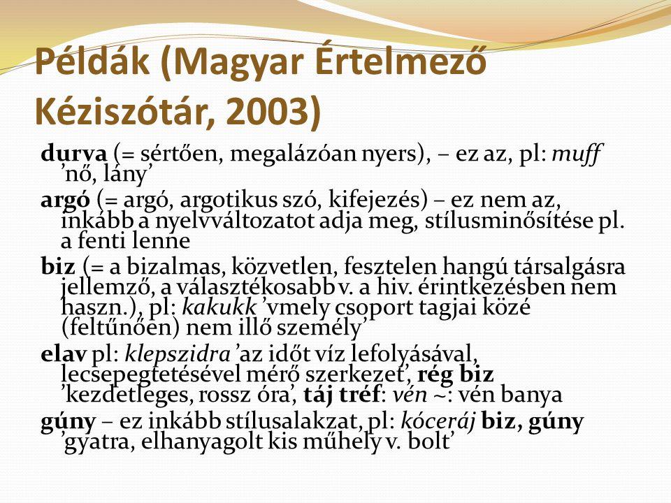 Példák (Magyar Értelmező Kéziszótár, 2003)