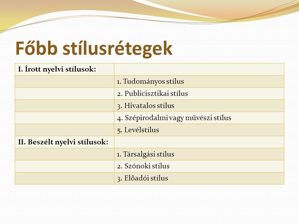 Főbb stílusrétegek I. Írott nyelvi stílusok: 1. Tudományos stílus