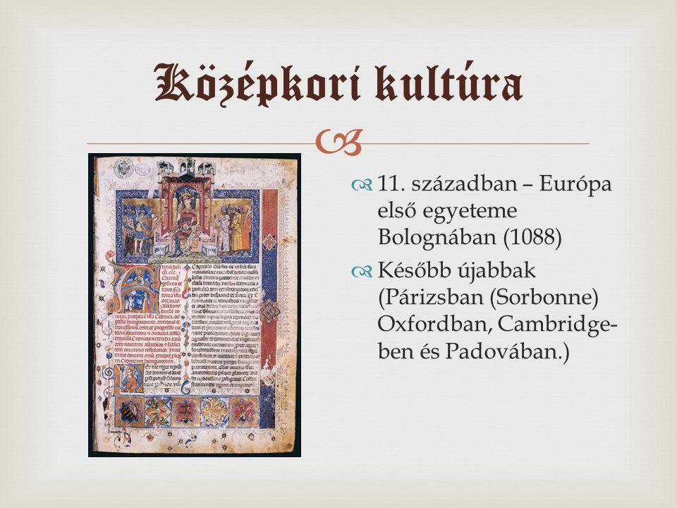Középkori kultúra 11. században – Európa első egyeteme Bolognában (1088)