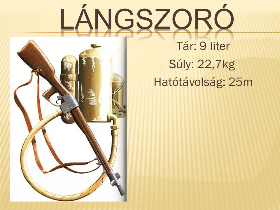 Tár: 9 liter Súly: 22,7kg Hatótávolság: 25m