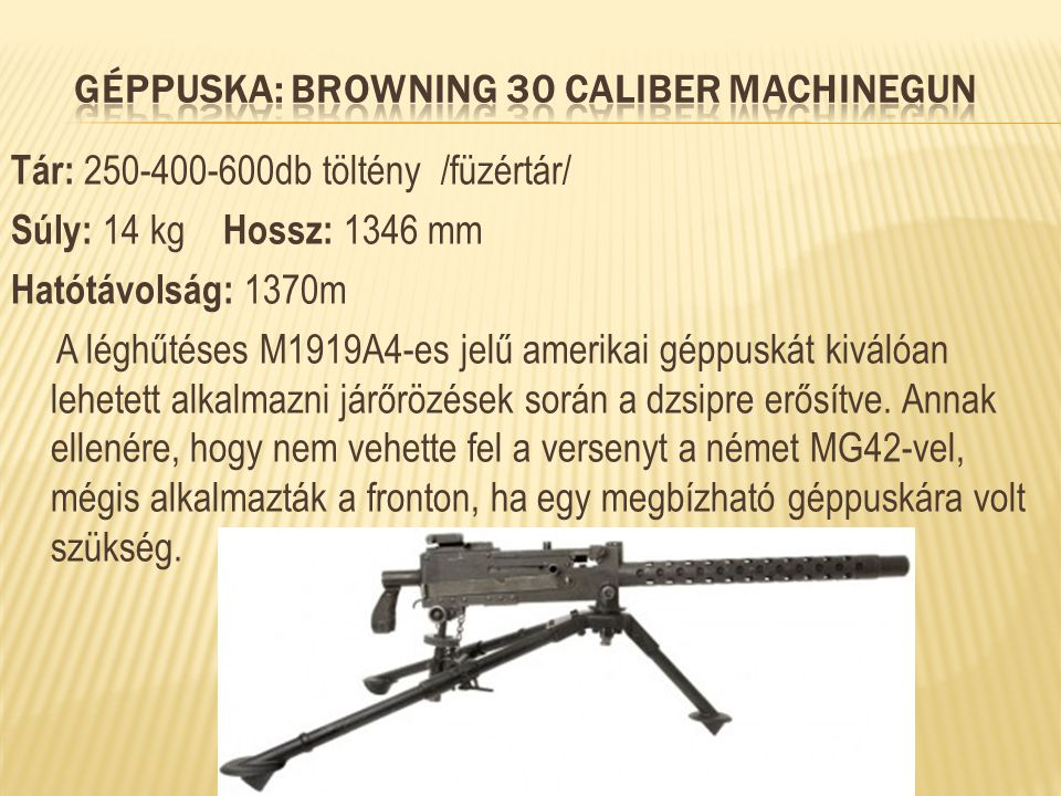 Géppuska: Browning 30 Caliber Machinegun
