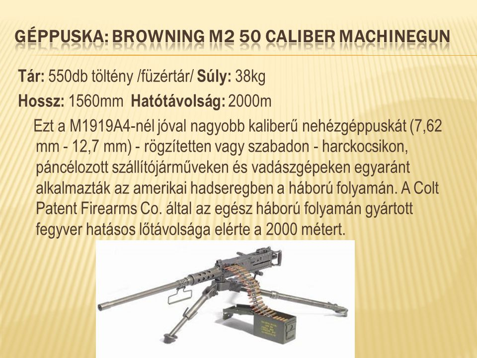 Géppuska: Browning M2 50 Caliber Machinegun