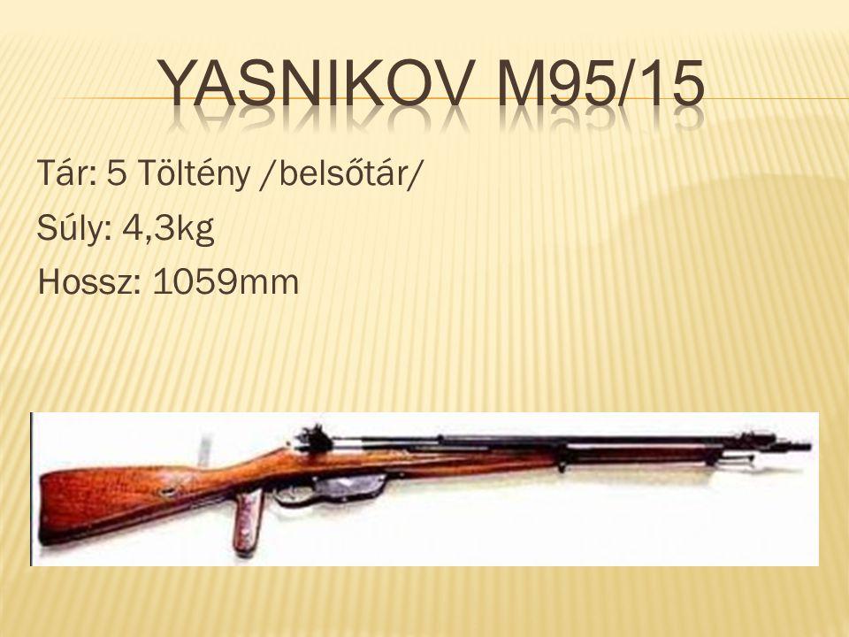 Yasnikov M95/15 Tár: 5 Töltény /belsőtár/ Súly: 4,3kg Hossz: 1059mm