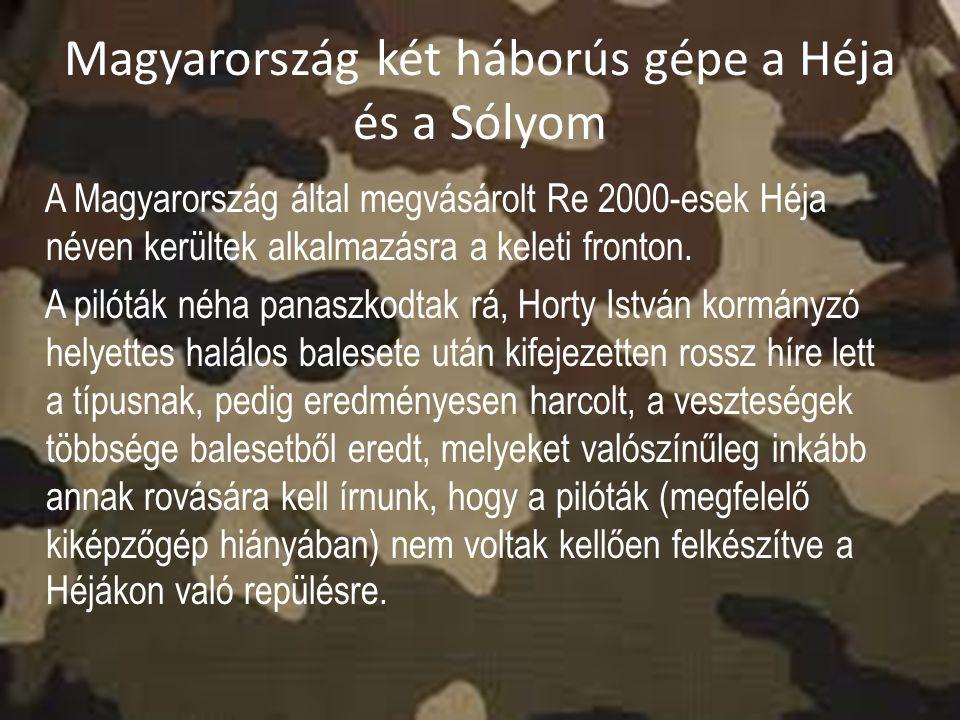 Magyarország két háborús gépe a Héja és a Sólyom