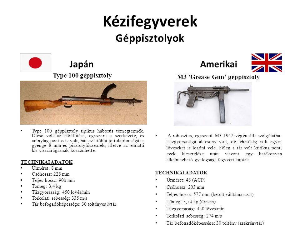 Kézifegyverek Géppisztolyok