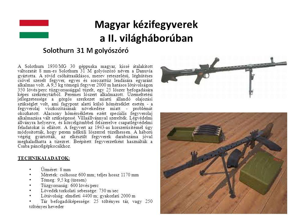 Magyar kézifegyverek a II. világháborúban