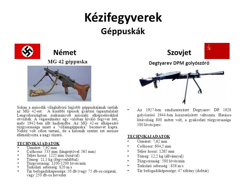 Kézifegyverek Géppuskák