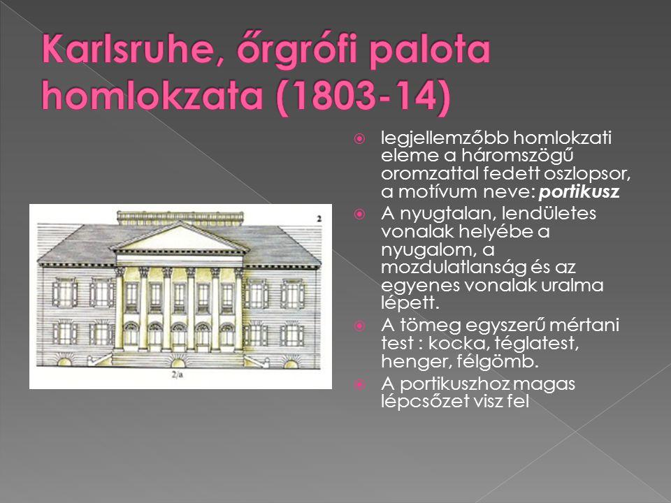 Karlsruhe, őrgrófi palota homlokzata (1803-14)
