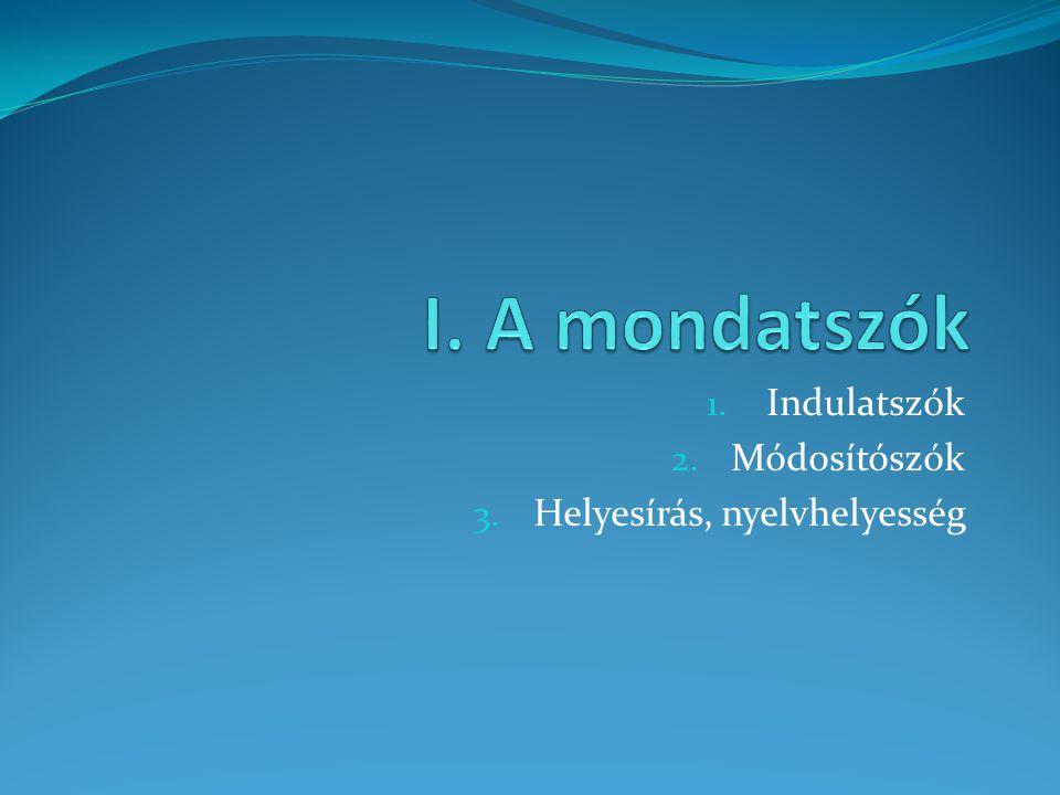 Indulatszók Módosítószók Helyesírás, nyelvhelyesség