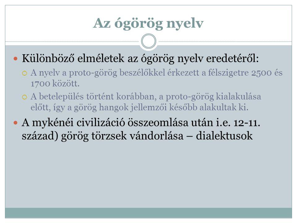 Az ógörög nyelv Különböző elméletek az ógörög nyelv eredetéről: