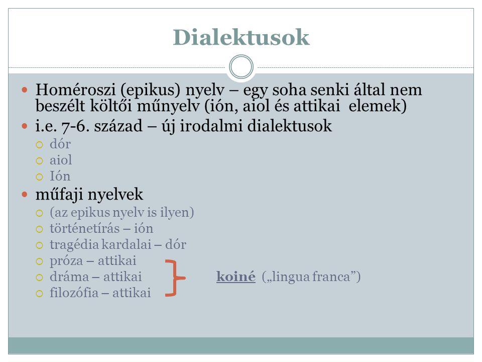 Dialektusok Homéroszi (epikus) nyelv – egy soha senki által nem beszélt költői műnyelv (ión, aiol és attikai elemek)