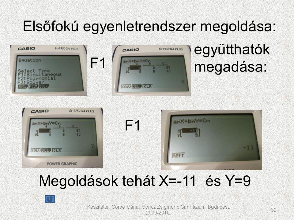 Elsőfokú egyenletrendszer megoldása: