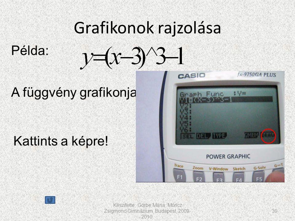 Grafikonok rajzolása Példa: A függvény grafikonja Kattints a képre!