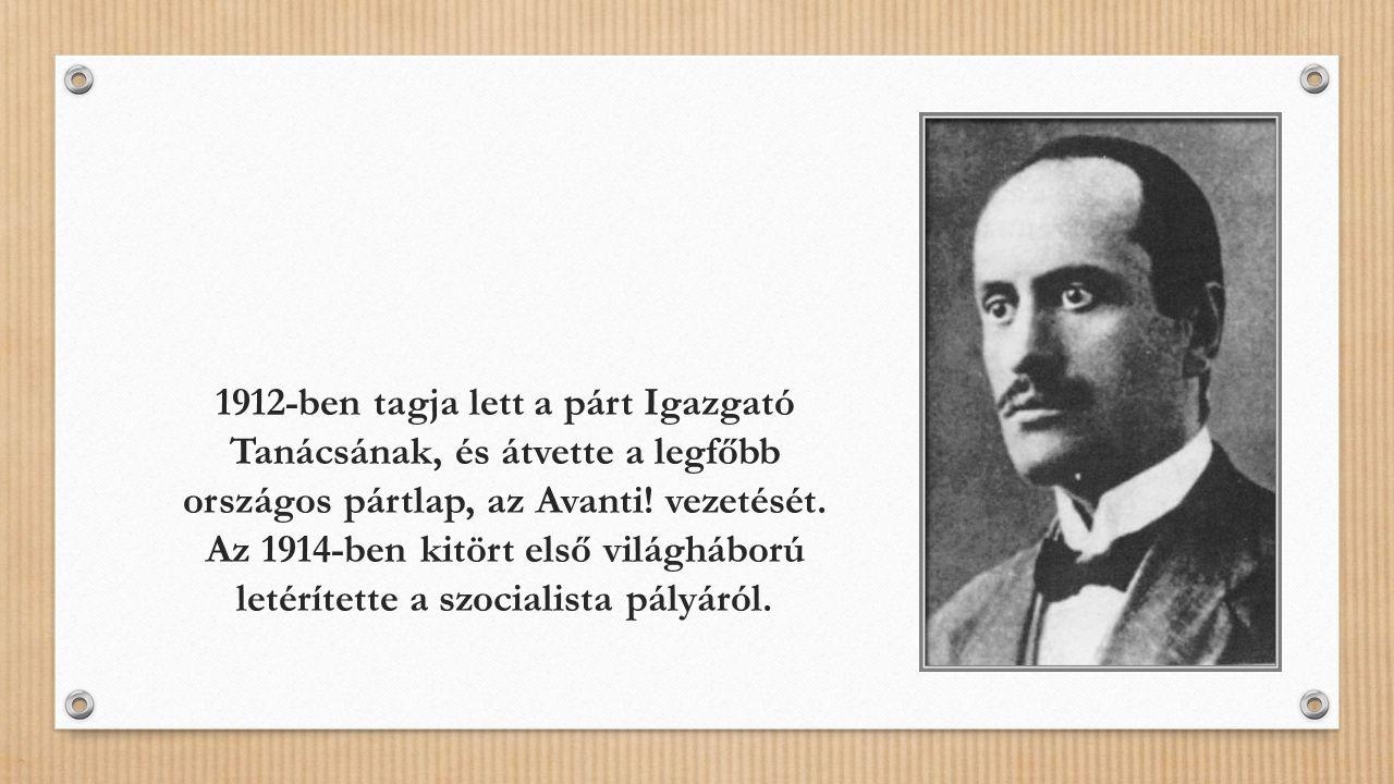 1912-ben tagja lett a párt Igazgató Tanácsának, és átvette a legfőbb országos pártlap, az Avanti.