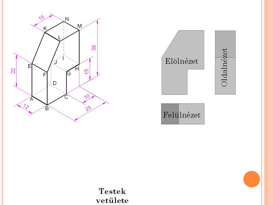 Elölnézet Oldalnézet Felülnézet Testek vetülete