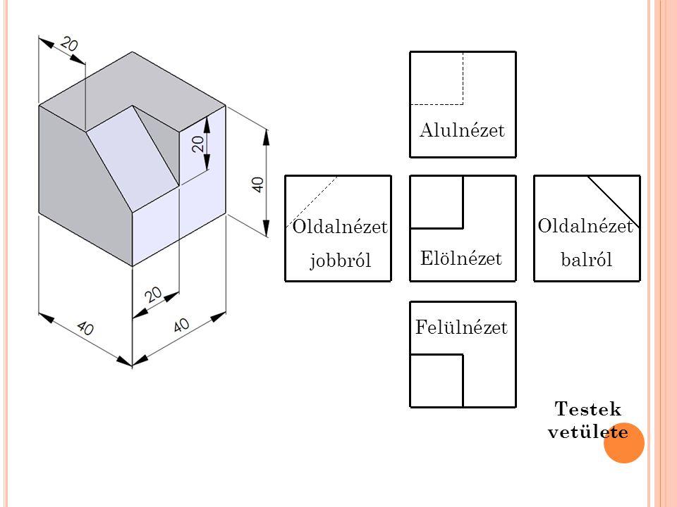 Alulnézet Oldalnézet jobbról Oldalnézet balról Elölnézet Felülnézet Testek vetülete