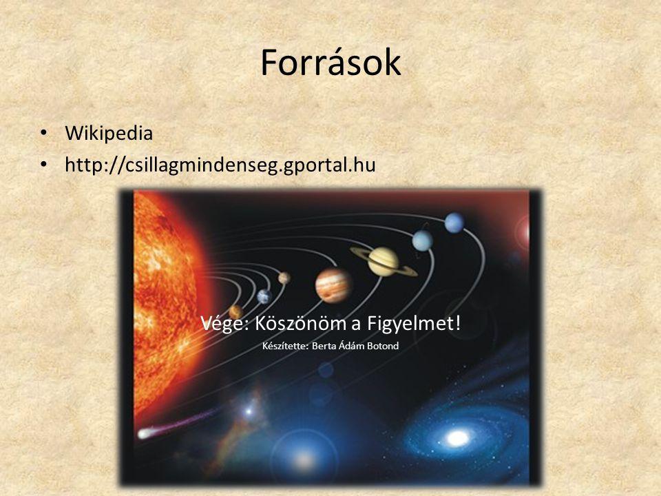 Források Wikipedia http://csillagmindenseg.gportal.hu
