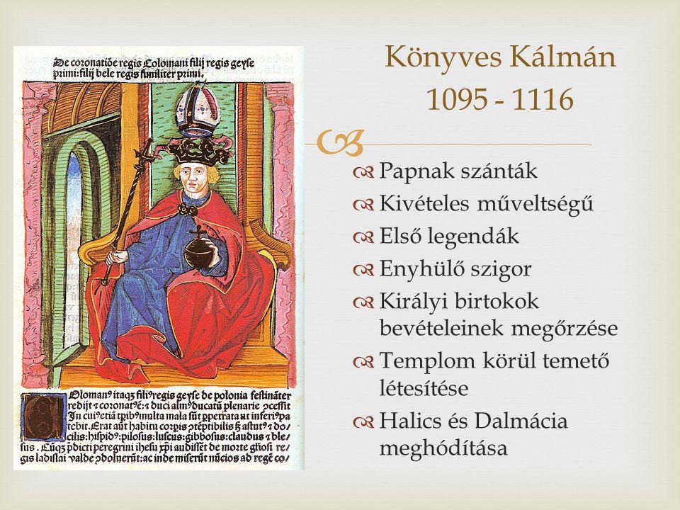 Könyves Kálmán 1095 - 1116 Papnak szánták Kivételes műveltségű
