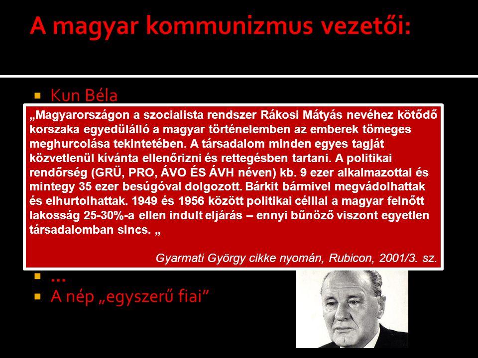 A magyar kommunizmus vezetői:
