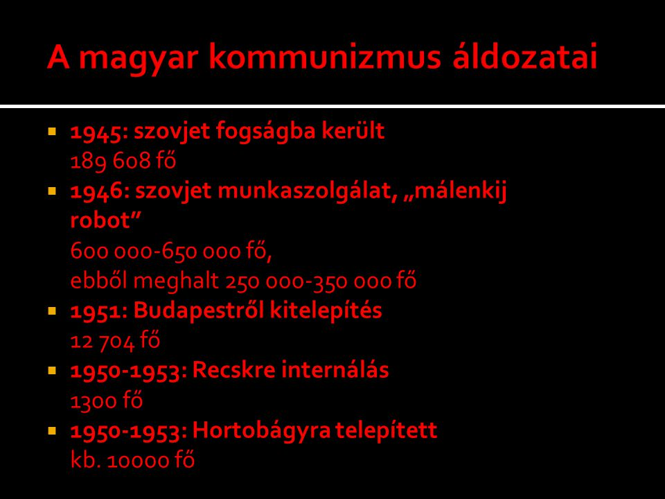 A magyar kommunizmus áldozatai