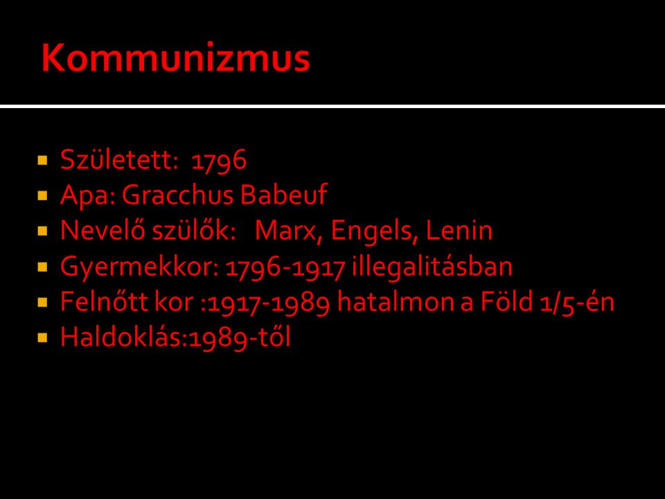 Kommunizmus Született: 1796 Apa: Gracchus Babeuf