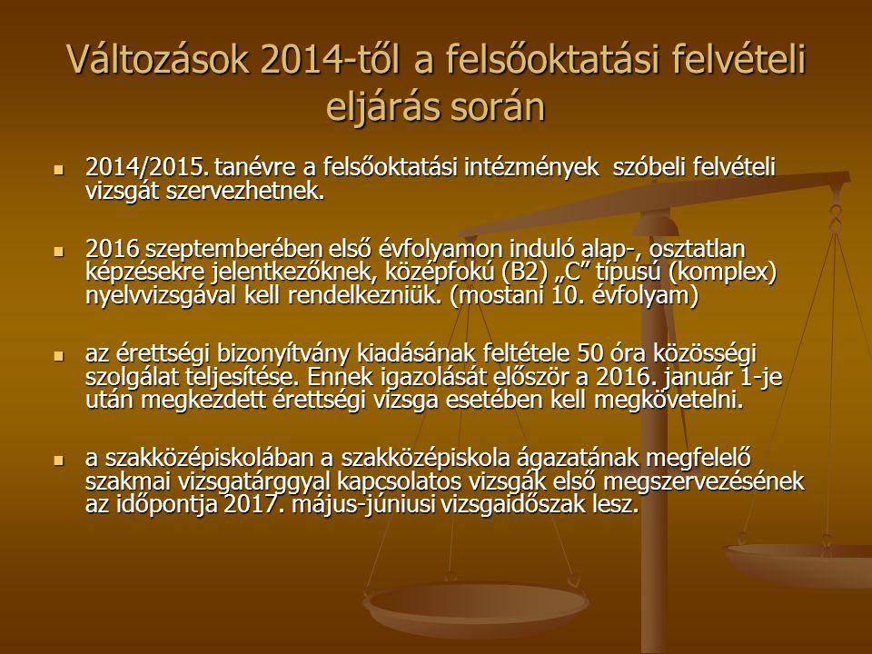 Változások 2014-től a felsőoktatási felvételi eljárás során