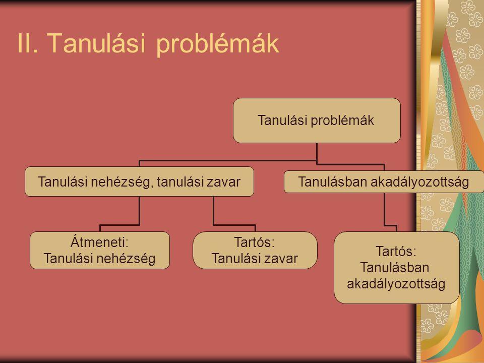 II. Tanulási problémák Tanulási problémák