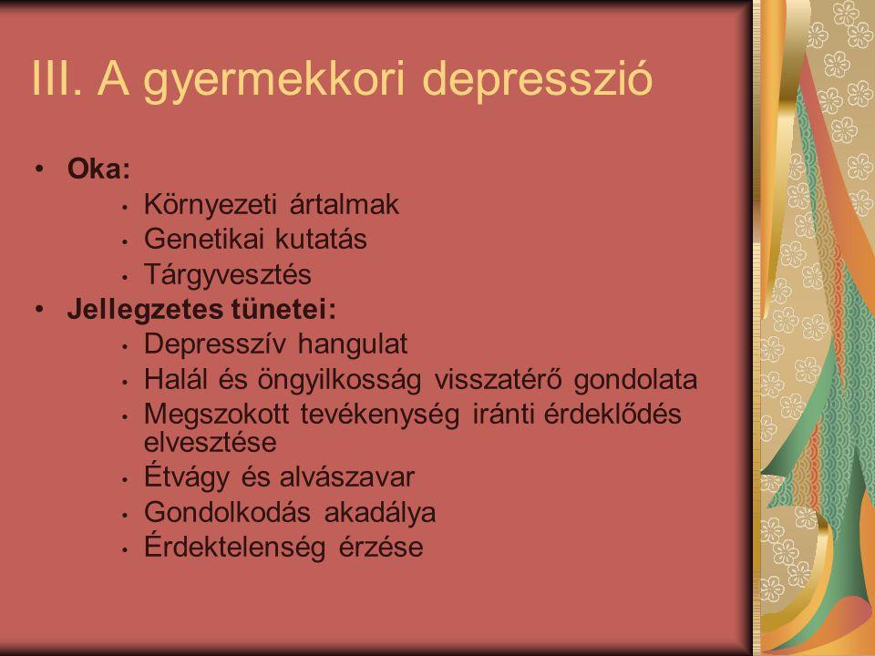 III. A gyermekkori depresszió