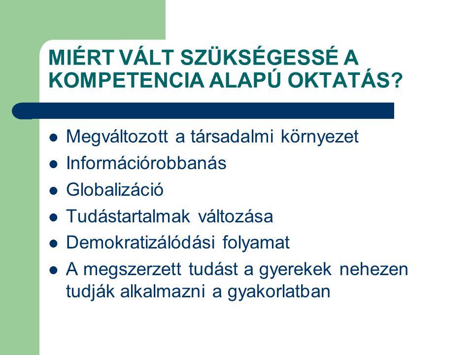 MIÉRT VÁLT SZÜKSÉGESSÉ A KOMPETENCIA ALAPÚ OKTATÁS