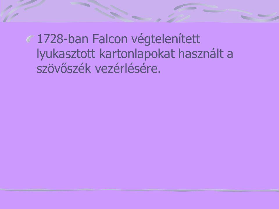 1728-ban Falcon végtelenített lyukasztott kartonlapokat használt a szövőszék vezérlésére.