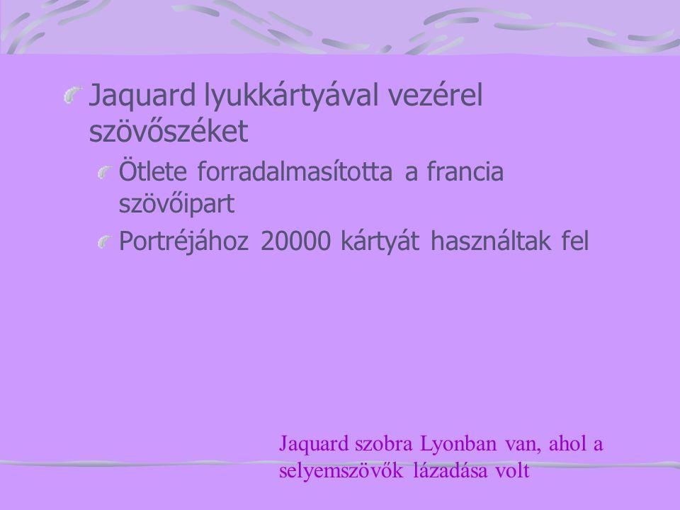 Jaquard lyukkártyával vezérel szövőszéket