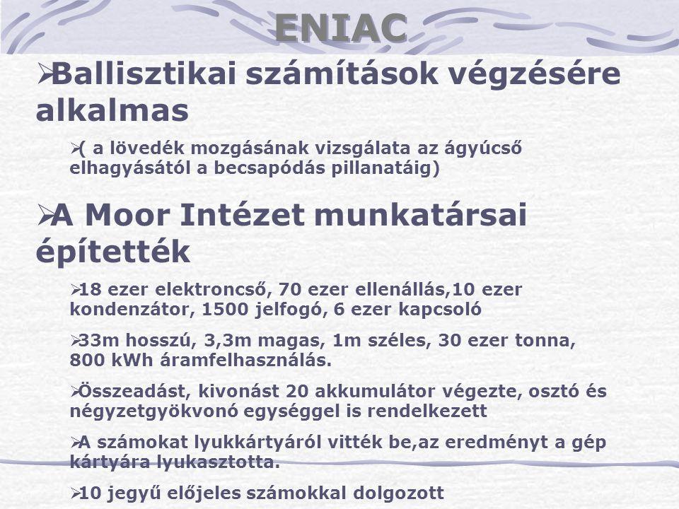 ENIAC Ballisztikai számítások végzésére alkalmas