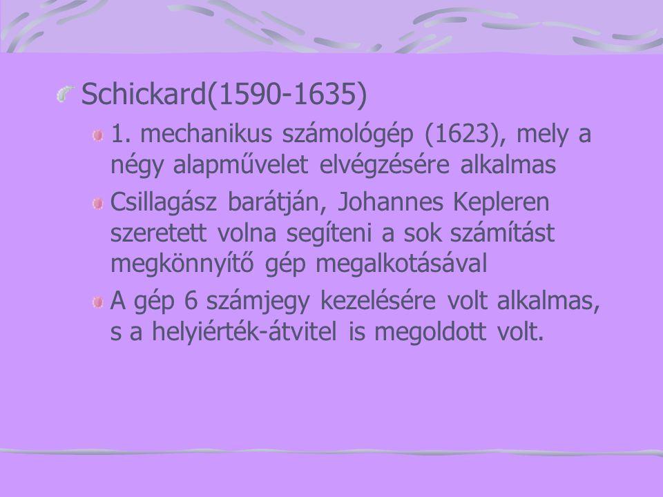 Schickard(1590-1635) 1. mechanikus számológép (1623), mely a négy alapművelet elvégzésére alkalmas.